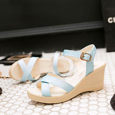 Tacones de 06601456 Cuña Morado Verano Sandalias Tacón Azul Blanco Confort Mujer Zapatos PU cuña OnBwqFvypA
