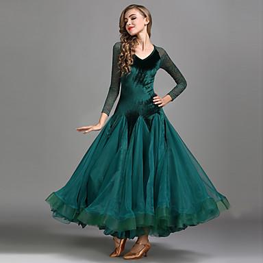 ריקודים סלוניים שמלות בגדי ריקוד נשים הדרכה הצגה תחרה קטיפה תחרה שרוול ארוך גבוה שמלה