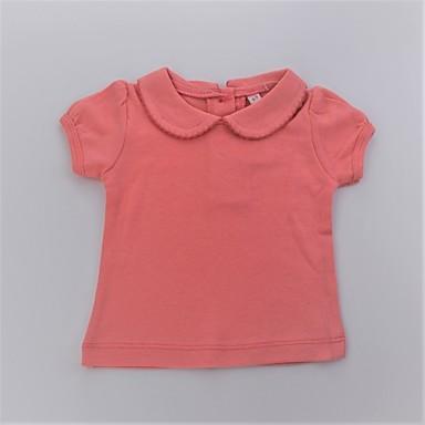 חולצה כותנה קיץ שרוולים קצרים יומי אחיד בנות פשוט חמוד לבן כתום