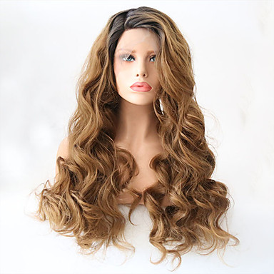 cheap Synthetic Lace Wigs-Synthetic Lace Front Wig Wavy Style Layered Haircut Lace Front Wig Golden Black / Strawberry Blonde Synthetic Hair Women's Heat Resistant Golden Wig Long Natural Wigs / Yes