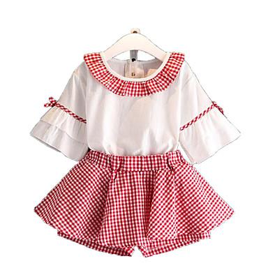 Dla dziewczynek Codzienny Urlop Jendolity kolor Pled Kratka Komplet odzieży, Bawełna Poliester Lato Krótki rękaw Urocza Podstawowy Black