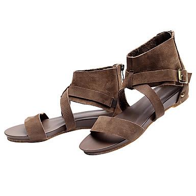 Eté Femme Sandales Cuir Chaussures 06600573 Confort Boucle Bout Plat Talon Marron ouvert qrCwrFxnE