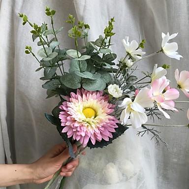 פרחים מלאכותיים 4 ענף כפרי / פרחי חתונה חמניות / צמחים / חַרצִית פרחים לשולחן
