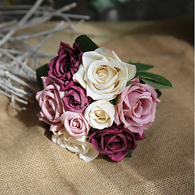 פרחים מלאכותיים 9 ענף כפרי / פרחי חתונה ורדים פרחים לשולחן