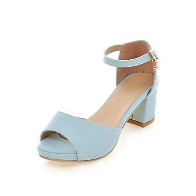 בגדי ריקוד נשים נעליים חומרים בהתאמה אישית / דמוי עור אביב / סתיו נוחות / חדשני סנדלים עקב עבה בוהן עגולה סגול / כחול / ורוד