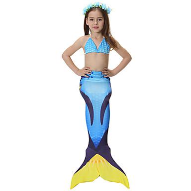 זנב של בתולת ים בגדי ים בגדי ריקוד גברים בגדי ריקוד נשים בת ים וסליפ שמלת חצוצרה האלווין (ליל כל הקדושים) יום הילד פסטיבל / חג תלבושות כחול אחיד בתולת ים