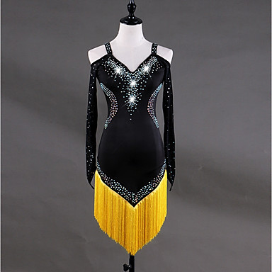 ריקוד לטיני שמלות בגדי ריקוד נשים הדרכה ספנדקס טול קריסטלים / אבנים נוצצות פרנזים שרוול ארוך גבוה שמלה