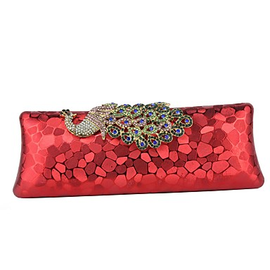 abordables Sacs-Femme Détail Cristal Plastique / Métal Pochette Sacs de soirée en cristal strass Géométrique Noir / Rouge / Café