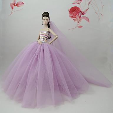 voordelige Poppenaccessoires-Poppenjurk Jurken Voor Barbie Paars Tule Kant Katoenmix Kleding Voor voor meisjes Speelgoedpop