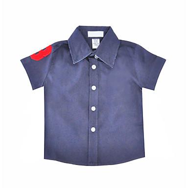 baratos Camisas para Meninos-Bébé Para Meninos Simples Diário Feriado Sólido Fashion Manga Curta Padrão Algodão Camisa Azul