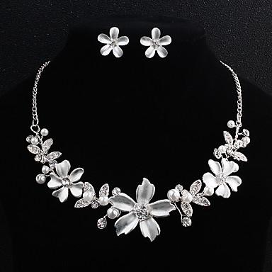 בגדי ריקוד נשים סט תכשיטים - פנינה פרח ארופאי, אופנתי לִכלוֹל כסף עבור חתונה יומי