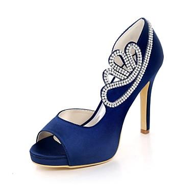 Chaussures Chaussures Aiguille Champagne Eté Ivoire 06580683 mariage Basique Printemps Bout Rouge Strass Femme de Satin Escarpin Talon ouvert pUwYFFx