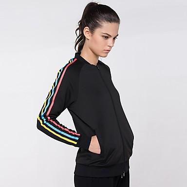 בגדי ריקוד נשים טישרט לריצה - שחור ספורט סווטשירט שרוול ארוך לבוש אקטיבי ייבוש מהיר קשיח