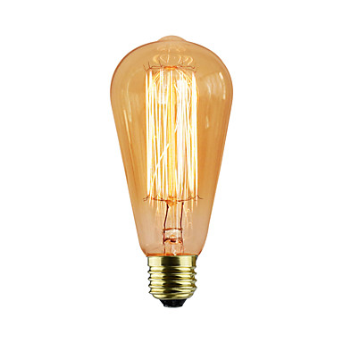 abordables Ampoules électriques-1pc 40 W E26 / E27 ST58 Jaune corps Transparent Ampoule incandescente Edison Vintage 220-240 V