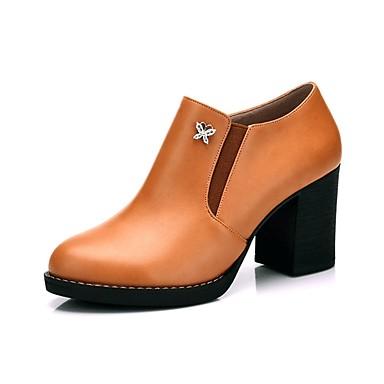 Mujer Zapatos Piel de Oveja Primavera Confort Tacones Tacón Cuadrado Negro / Almendra / Marrón Claro 2018 Plus Récent gIfkca