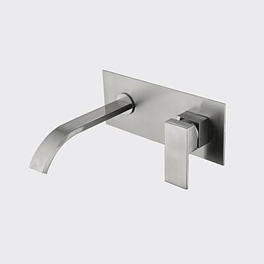 Vægmonteret Keramisk Ventil Enkelt håndtak To Huller Nikkel Børstet, Baderom Sink Tappekran