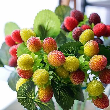 פרחים מלאכותיים 1 ענף כפרי / פרחי חתונה פירות פרחים לשולחן