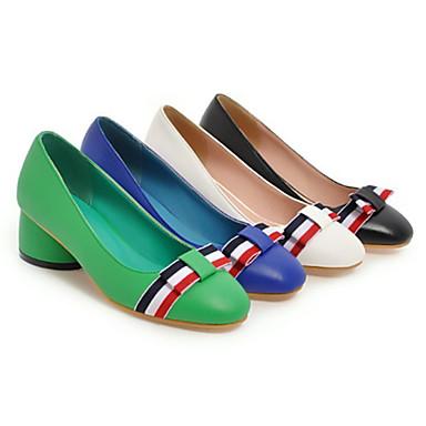 Femme Noeud Vert Confort à Talon Chaussures Bleu Printemps Bout Beige Automne Talons Polyuréthane 06601920 Nouveauté Chaussures Bas rond pwxpRqrHO