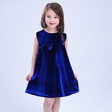 Brzdąc Dla dziewczynek Casual Impreza Solidne kolory Łuk Bez rękawów Sukienka / Bawełna