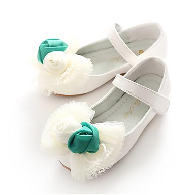 בנות נעליים דמוי עור אביב קיץ בלרינה / נעליים לילדת הפרחים שטוחות פפיון / פרח / סקוטש ל לבן / ורוד