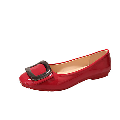 Women's Shoes PU(Polyurethane) Summer Moccasin Flats Walking Shoes Low Heel Pointed Toe Bowknot Red / Blue / Pink