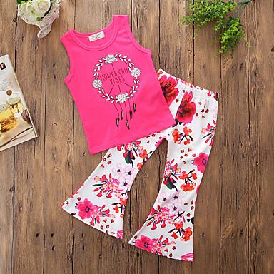 סט של בגדים כותנה פוליאסטר קיץ ללא שרוולים יומי ליציאה פרחוני בנות פשוט יום יומי פוקסיה