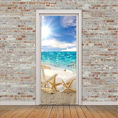 Naklejki na drzwi - Naklejki ścienne lotnicze / Naklejki ścienne 3D Martwa natura / Motyw morski Łazienka / Domowy / Możliwość zmiany miejsca