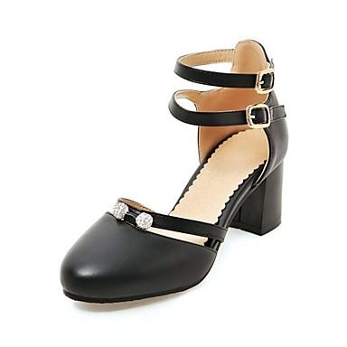 בגדי ריקוד נשים נעליים דמוי עור אביב / סתיו בלרינה בייסיק עקבים עקב עבה בוהן עגולה שחור / בז' / ורוד / מסיבה וערב