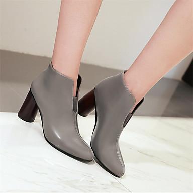 Chaussures Gris Mode Talon Beige pointu Similicuir Bottier Bottes à Bottes Bout la Femme 06569301 Noir Hiver 6qYdqR