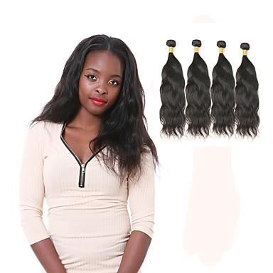 baratos Extensões de Cabelo Natural-4 pacotes Cabelo Peruviano Ondulado Natural 10A Cabelo Natural Remy Cabelo Humano Ondulado Tramas de cabelo humano Extensões de cabelo humano