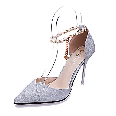 PU Confort para Zapatos Tacón Dorado Cadena redondo Paseo Negro Casual Cuadrado Dedo Mujer Verano Sandalias Pq5xwnYttd