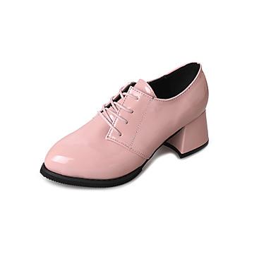 בגדי ריקוד נשים נעליים PU אביב / קיץ נוחות נעלי אוקספורד חסום את העקב בוהן מחודדת מגפונים\מגף קרסול שחור / אדום / ורוד