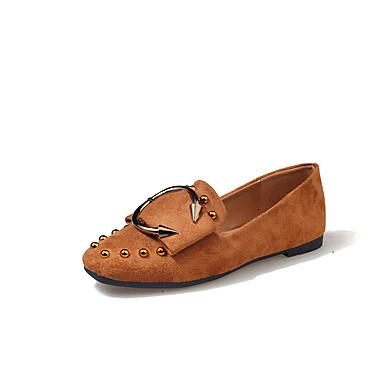 Mulheres Sapatos Couro Ecológico Primavera / Verão Conforto Rasos Sem Salto Dedo Apontado Presilha Marron / Verde Tropa / Khaki