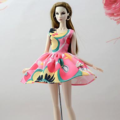 Suknie Sukienki Dla Lalka Barbie Różowy + zielony Bawełniano-poliestrowy / Mieszanka Lnu i Poliestru Ubierać Dla Dziewczyny Lalka Zabawka