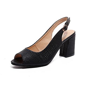Women's PU(Polyurethane) Summer Comfort Heels Stiletto Heel Pointed Toe Rivet White / Black / Dress / 3-4