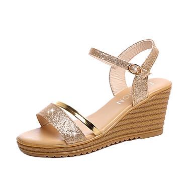 Damen Schuhe PU Sommer Sandalen Keilabsatz Klett Silber / Golden / Keilabsätze