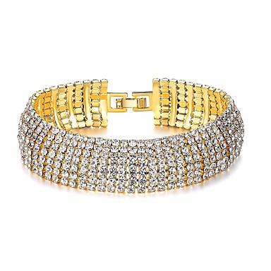 בגדי ריקוד נשים יהלום סינתטי צמיד - יהלום מדומה קלסי, אופנתי צמידים זהב עבור Party מתנה
