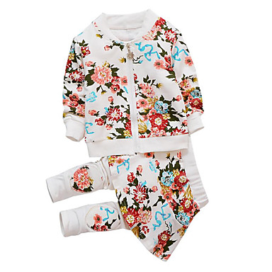 בנות פשוט / יום יומי כותנה מכנסיים - אחיד / פרחוני דמויות מצוירות / מדפיס / דפוס לבן / ספורט / פעוטות