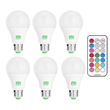 billige Elpærer-YWXLIGHT® 6pcs 10 W LED-globepærer 600-1000 lm E26 / E27 12 LED perler SMD Mulighet for demping Fjernstyrt Dekorativ Kjølig hvit RGB 85-265 V
