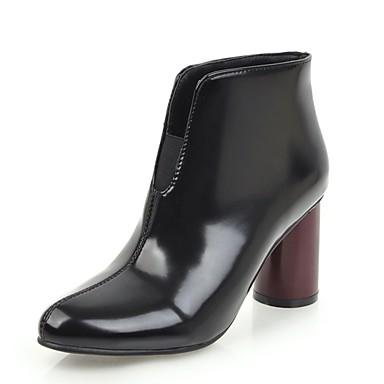 בגדי ריקוד נשים נעליים דמוי עור חורף מגפיים אופנתיים מגפיים עקב עבה בוהן מחודדת שחור / בז' / אפור
