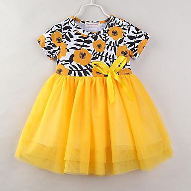 שמלה כותנה פוליאסטר קיץ שרוולים קצרים יומי ליציאה פרחוני טלאים הילדה של חמוד יום יומי צהוב
