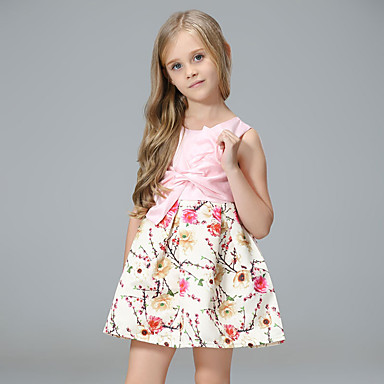 cheap Gilrs' Party Dresses-Kids Girls' Simple / Vintage / Basic Daily / School Floral / Jacquard Embroidered / Print Long Sleeve Cotton / Acrylic / Polyester Dress Pink