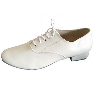 Homme Latines Modernes Chaussures Standard Salsa Similicuir Cuir Talon Intérieur Professionnel Débutant Entraînement Talon Bottier Blanc