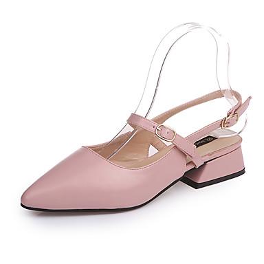 Mulheres Sapatos Couro Ecológico Verão Solados com Luzes Conforto Rasos Ponta Redonda para Casual Preto Bege Marron Rosa claro