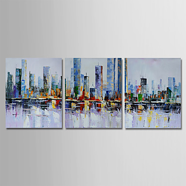 cheap Wall Art-Oil Painting Hand Painted - Abstract Modern Stretched Canvas / Three Panels