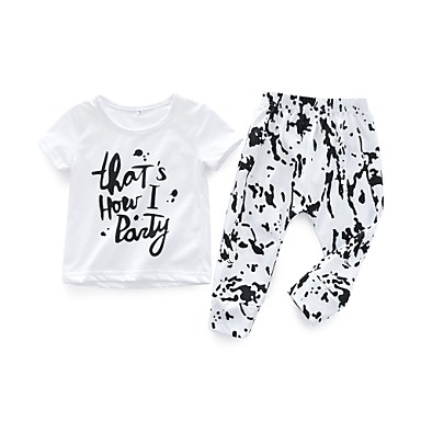 סט של בגדים כותנה שרוולים קצרים דפוס פשוט / יום יומי בנים / בנות תִינוֹק