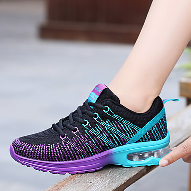Women's Athletic Shoes Flat Heel Round Toe Lace up PU(Polyurethane) Comfort Spring Fall Purple Pink Red and White EU39