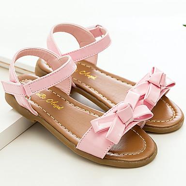 בנות נעליים עור פטנט קיץ נעליים לילדת הפרחים סנדלים פרח / וו ולולאה ל צהוב / ורוד