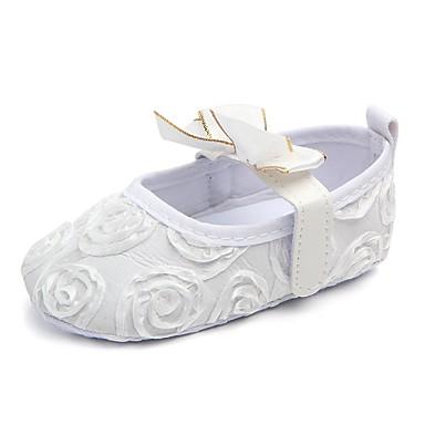 voordelige Babyschoenentjes-Meisjes Eerste schoentjes / Wiegschoenen Weefsel Platte schoenen Strik / Magic tape Wit / Zwart / Roze Lente zomer
