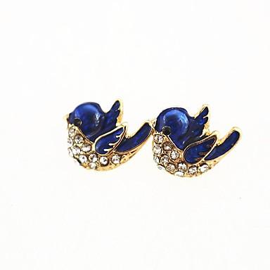 בגדי ריקוד נשים יהלום סינתטי עגילים צמודים - יהלום מדומה ציפור מתוק זהב עבור יומי / ליציאה